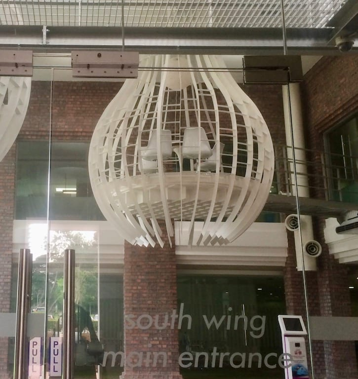 Suspended art meeting room