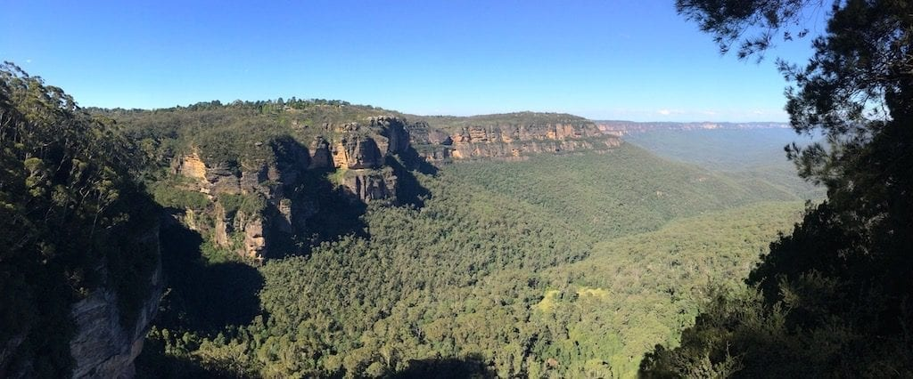 View of the sandstone cliffs of the Blue Mountains from the cliffside hiking trail in Katoomba
