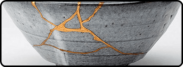 Bowl repaired with gold using the Japanese kintsugi technique