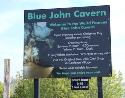 Blue John Cavern signage | Peak District | Derbyshire | England