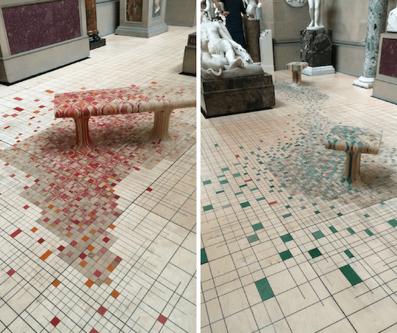 Mosaic floor and bench in Chatsworth House