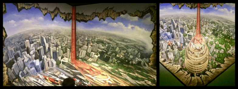 Angle shots of 3D art in Alive 3D Art Gallery showing the difference photo angle makes for the 3D effect.