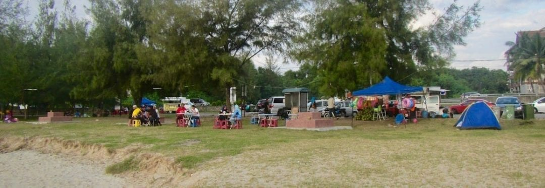Stalls and chairs for beachside food at Port Dickson beach   Negeri Sembilan, Malaysia
