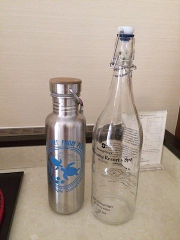 Shangri La hotel glass bottled water | refillable metal water bottle | plastic free april challenge | zero waste challenge | no plastic July