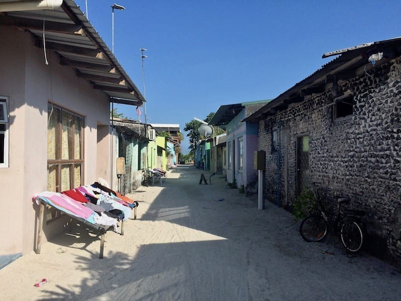 Residential street in Dhiffushi atoll | the Maldives | Nepal and India Unusual Packing List | Teja on the Horizon