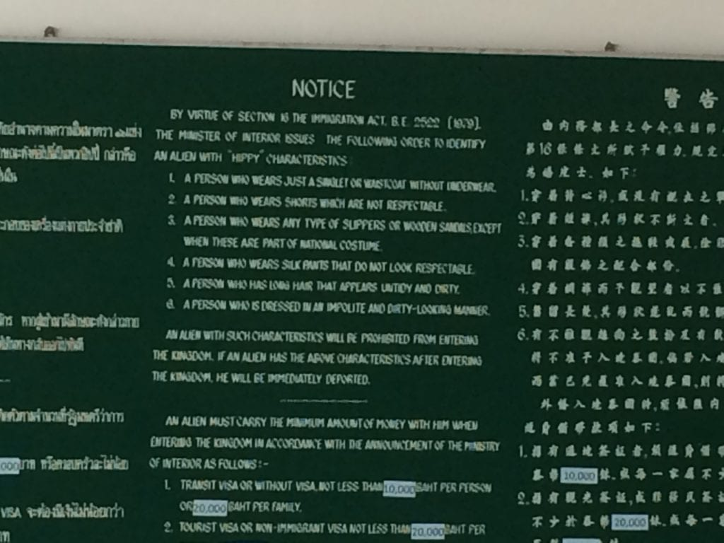 Hippies banned | hippy ban | Hatyai immigration | bizarre signs | interesting signage