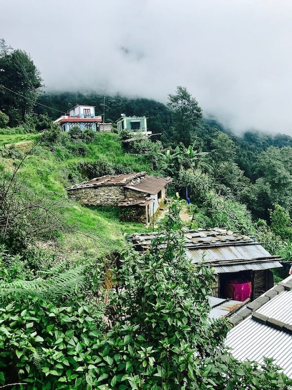 Rural huts perched on the hillside in a village near Kande | Pokhara day hike | Kande hiking | Dhampus hiking | Nepal tourism | Nepal trekking | Nepal rural life | Annapurna Conservation Area | Teja on the Horizon travel blog