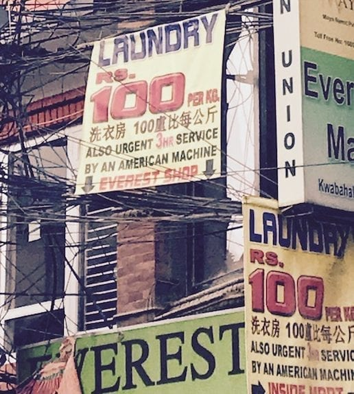 Laundry costs in Thamel, Kathmandu | Nepal Travel Logistics: What It Costs If You Can't Be Bothered on travel blog Teja on the Horizon | Nepal travel | Nepal logistics cost | Nepal taxi rates | Nepal mobile data service | Nepal laundry service cost