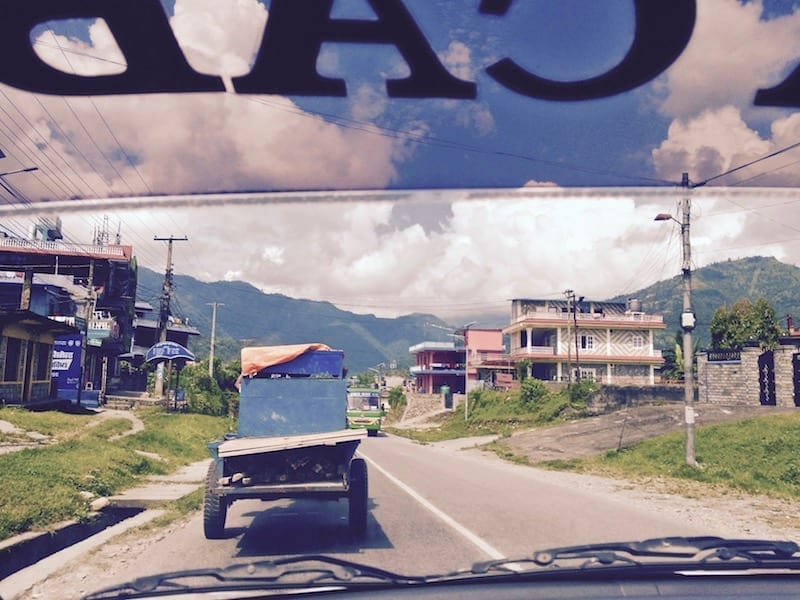 Street traffic near Pokhara, Nepal | Nepal Travel Logistics: What It Costs If You Can't Be Bothered on travel blog Teja on the Horizon | Nepal travel | Nepal logistics cost | Nepal taxi rates | Nepal mobile data service