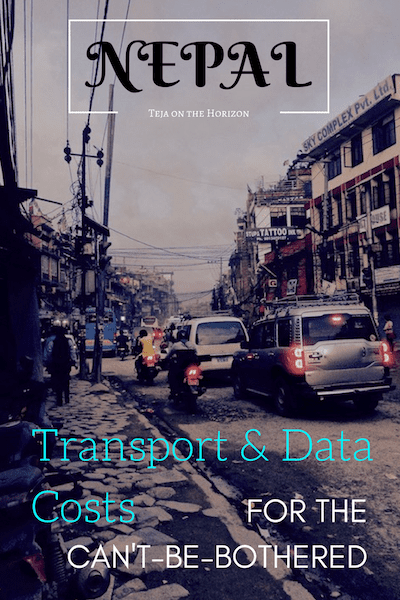 Street traffic near Boudhanath in Kathmandu, Nepal | Nepal Logistics Costs for the Can't-Be-Bothered on travel blog Teja on the Horizon | Nepal travel | Nepal logistics cost | Nepal taxi rates | Nepal mobile data service | Nepal halal food | Pokhara halal food