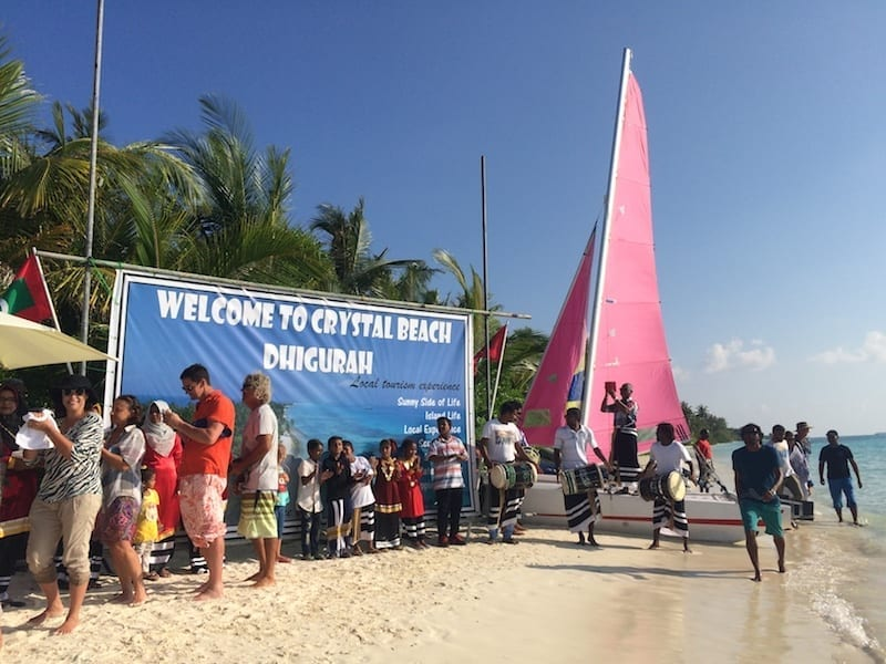 Yacht event Maldives | anchoring off Dhigurah | Dhigurah island welcome | Maldives impromptu festival | Maldives tourism
