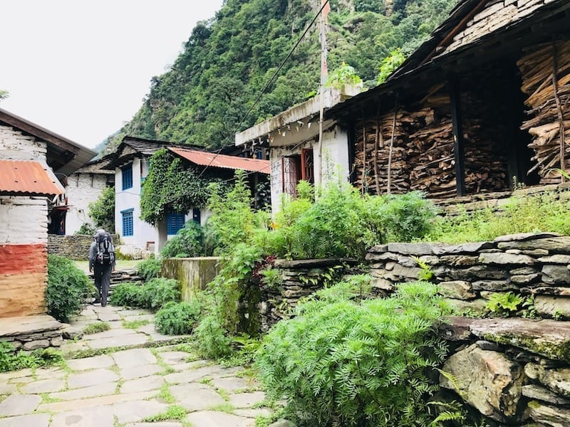 Passing through a village in Hille, Annapurna | Annapurna in the Monsoon Day 1: An Expedition of Three Sisters | Annapurna Base Camp trekking in monsoon | Annapurna Circuit in the off season | ABC trek | Nepal hiking | Hille | Gandaki