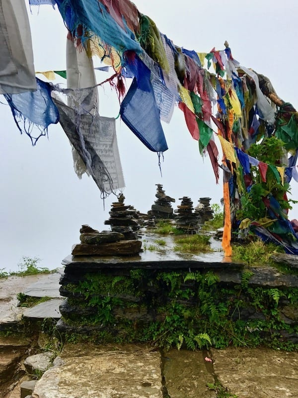 Rock stacking and Tibetan prayer flags | Nepali memorial cairns | Annapurna in the Monsoon Day 3: The Rock Stacks by the River | Ghorepani to Tadapani | Annapurna Sanctuary | ABC trekking in monsoon | Annapurna Circuit in the off season | Nepal hiking | Nepal outdoors | Teja on the Horizon