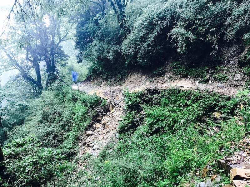Section of trail collapsed down the slope   Annapurna in the Monsoon Day 3: The Rock Stacks by the River   Annapurna Sanctuary trek   ABC trekking in monsoon   Annapurna Circuit in the off season   Nepal hiking   Nepal outdoors   Teja on the Horizon