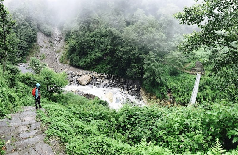 Cable bridges in Gurung territory | Annapurna in the Monsoon Day 4: Glimpses of Machapuchare | Tadapani to Chomrong | | Nepal trekking | Annapurna Sanctuary trek | Asian female trekking | Teja on the Horizon