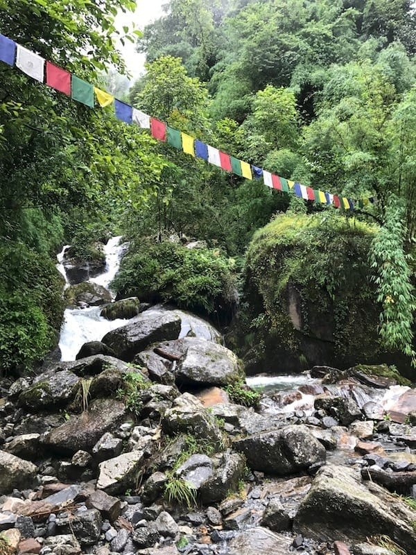 Tibetan prayer flags across a stream | Annapurna in the Monsoon Day 6: The Shrine of Dovan | waterfalls, streams, rapids, and river crossings during Annapurna trekking | ABC trek | Asian female trekking | Teja on the Horizon