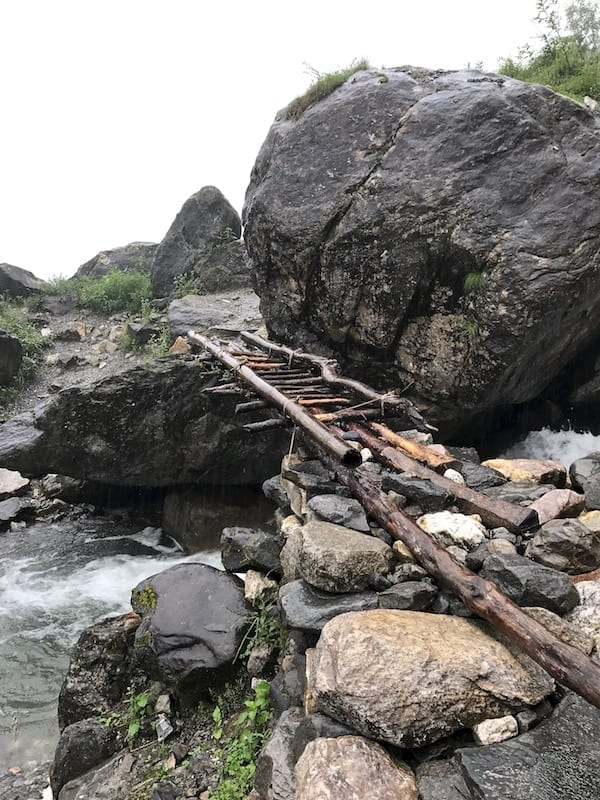 Ladder bridge near Deurali | Annapurna in the Monsoon Day 6: The Shrine of Dovan | waterfalls, streams, rapids, and river crossings during Annapurna trekking | ABC trek | Asian female trekking | Teja on the Horizon