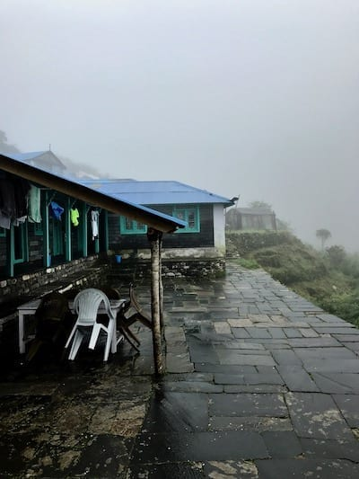 Wet monsoon conditions in Deurali | Annapurna in the Monsoon Day 7: To the Base Camp on a Trail of Flowers | Annapurna Base Camp trek | Annapurna Sanctuary trek | Asian female trekking | Teja on the Horizon