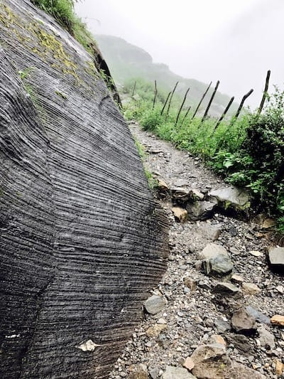 Boulder with striation pattern along the trekking route | Annapurna in the Monsoon Day 7: To the Base Camp on a Trail of Flowers | Annapurna Base Camp trek | Annapurna Sanctuary trek | Asian female trekking | Teja on the Horizon