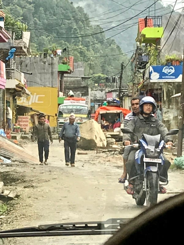 Traffic and pedestrians in Nayapul | Annapurna in the Monsoon Day 10: Trekking Tips for the Newbie Trekker | Syauli Bazaar to Nayapul | Asian female trekking | Teja on the Horizon