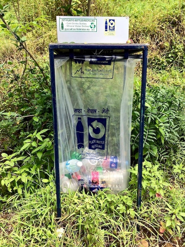 Public collection bin for recyclable plastic bottles in Pokhara | sustainable travel | travel sustainability review | Travel Sustainably Nepal edition How I Tried to Travel Responsibly | Teja on the Horizon