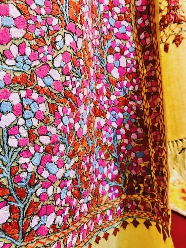 Shawl close-embroidered in silk | Nepali embroidery close-up | Caprah Handicrafts | The Kashmiri Serendipity: Stories of Female Travellers in Pokhara