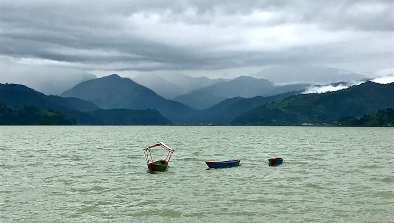 Evening at Fewa Lake | Silhouette of Annapurna mountains with Lake Phewa in foreground | The Kashmiri Serendipity: Stories of Female Travellers in Pokhara