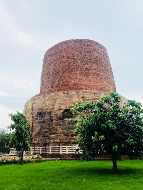 Dhamekh stupa in Sarnath, near Varanasi, India | Pilgrimage site for Buddhists where Gautama Buddha taught his first disciples | Sarnath archaeological site