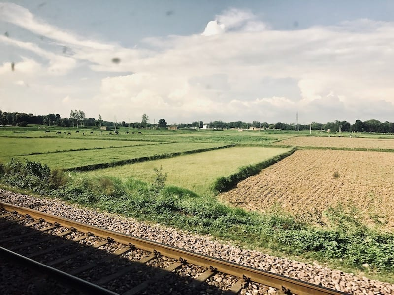 View of farmland in the countryside of Uttar Pradesh with railway tracks in the foreground | Train travel through North India