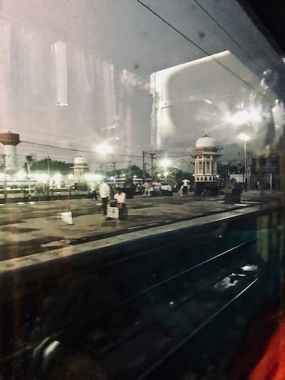 View of the end of the platform at Lucknow train station, from inside a train as it pulled into the station
