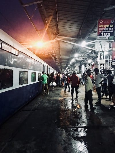 View down the platform at Lucknow train station, arriving from Varanasi at night