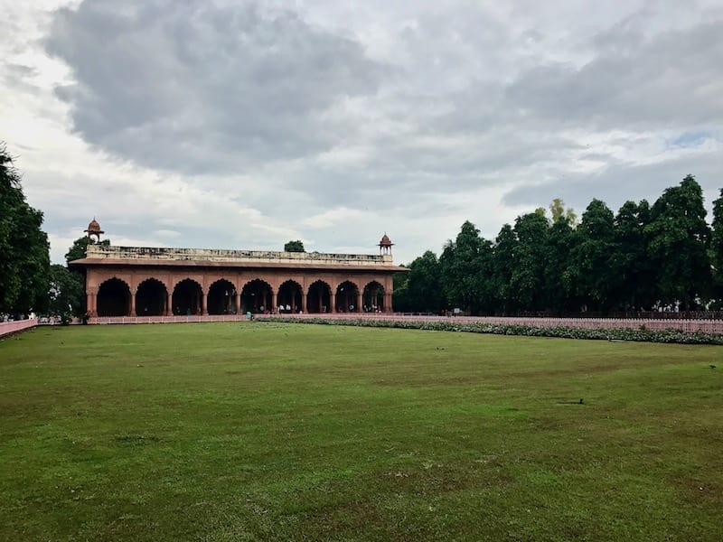 View of the arched red stone of the public audience hall in the Red Fort of Delhi
