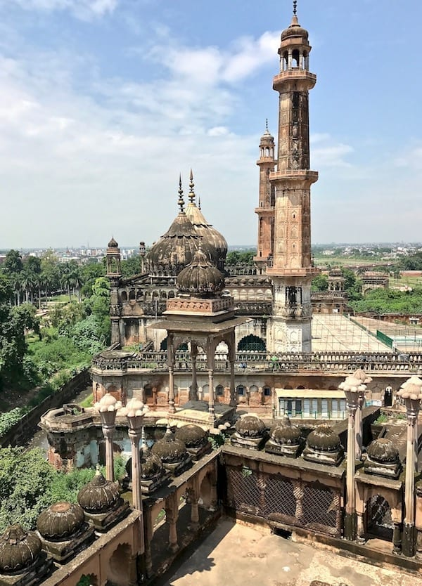 Side view of Asfi Mosque (under refurbishment) and the moat, from the roof courtyard parapets of Bara Imambara in Lucknow, India | Uttar Pradesh tourism and heritage must-see for one day in Lucknow