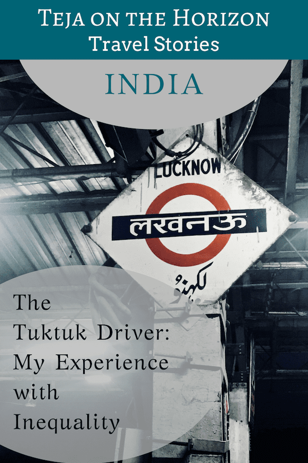 Travel article 'The Tuktuk Driver in Lucknow Train Station' | Pinterest image | Indian railways sign mounted on a pillar for Lucknow station written in three scripts | Teja on the Horizon blog