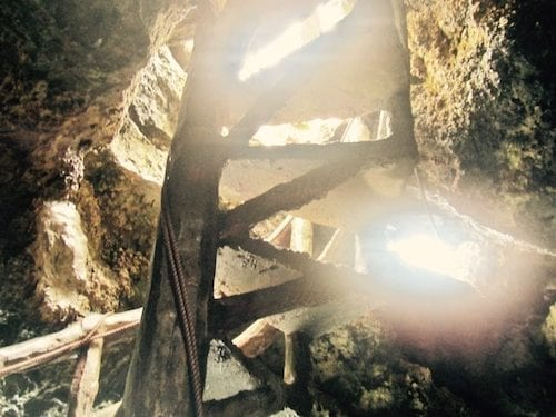A view back up the Crystal Cove grotto spiral staircase | Boracay day tour