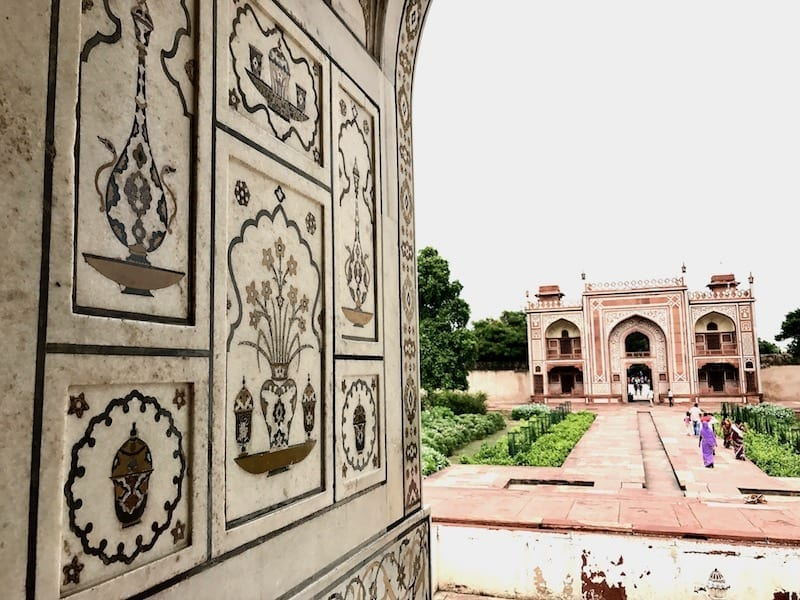 View to the great gate of I'timad ud-Daulah from within the tomb, showing the pietra dura art of the Mughals in the foreground left