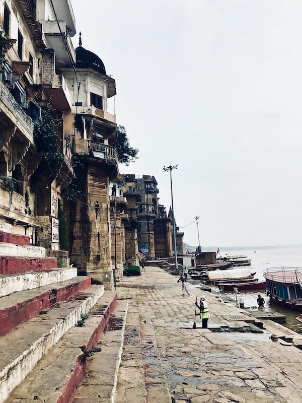 A view along Chausath Yogni Ghat in Varanasi, India