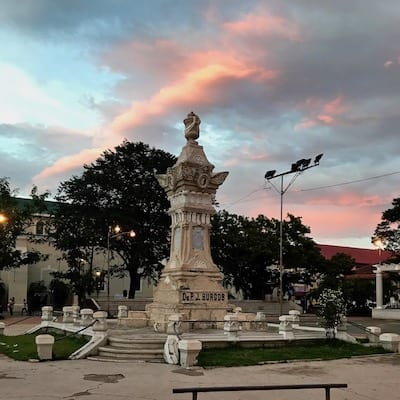 Monument to Fr. Burgos, Ilocano resistance leader against Spanish colonists, in Plaza Burgos, Vigan | UNESCO Heritage City