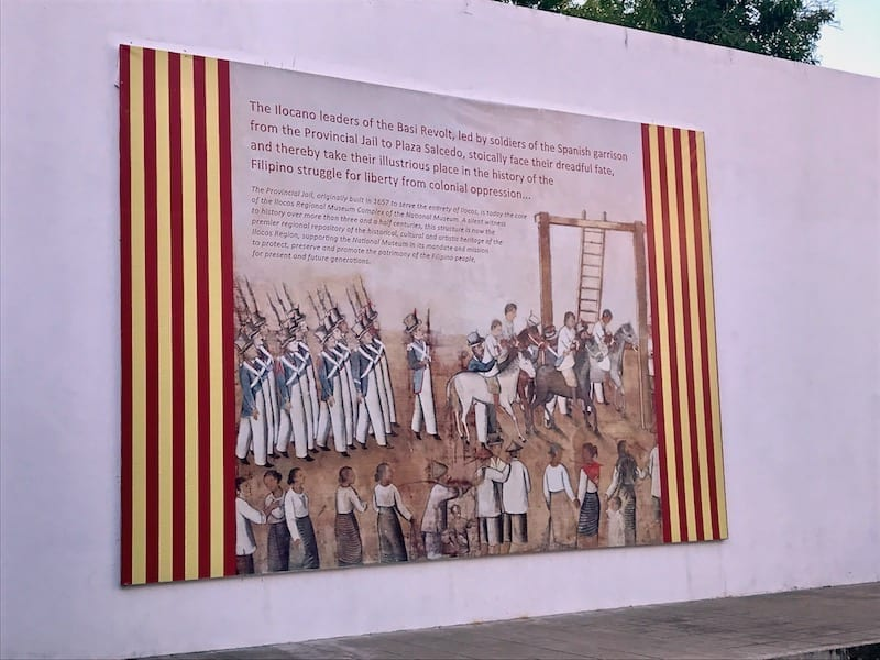 An image in the Museum Complex of Vigan depicting Ilocos resistance leaders captured by Spanish colonial soldiers, being marched to their executions | the Provincial Jail of Vigan, the Philippines | Philippine history | Things to do in Vigan