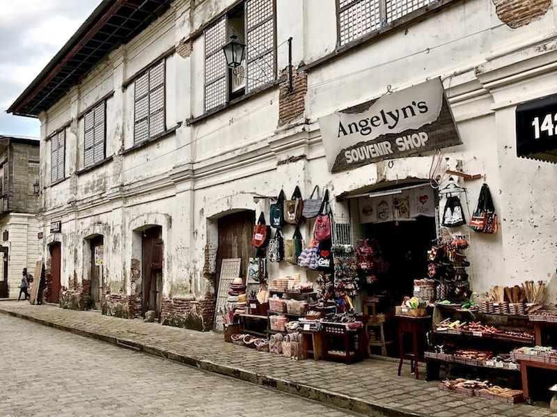 A souvenir shop with wares on the sidewalk along Calle Crisologo in the UNESCO Heritage Site of Vigan, the Philippines | Things to do in Vigan